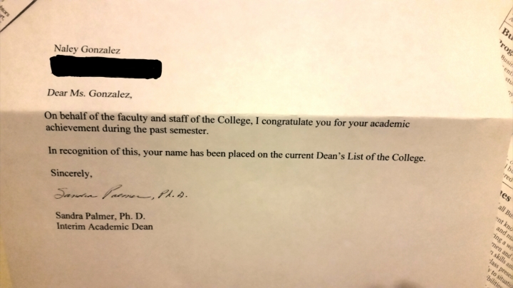Dean's List Letter for Fall Semester 2014